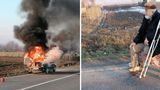 Mașină în flăcări în Vaslui. Șoferul, un bătrân cu dizabilități, abia își luase mașina din service
