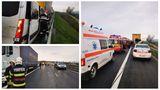 Accident grav cu microbuz pe A1. Şapte persoane au ajuns la spital