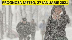 Prognoza meteo ANM pentru miercuri, 27 ianuarie 2021. Vremea se schimba radical! Meteorologii au emis o atentionare Cod Galben de ninsori abundente si viscol!