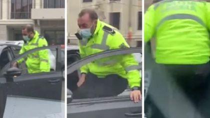 Imagini incredibile surprinse în trafic. Ce a făcut un poliţist pentru a împiedica un şofer să fugă de amendă