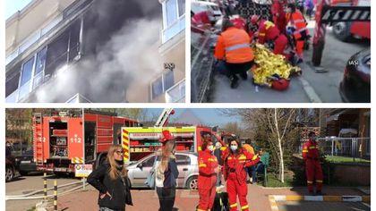 Incendiu puternic în Iaşi. Femeie intoxicată cu fum, resuscitată în stradă
